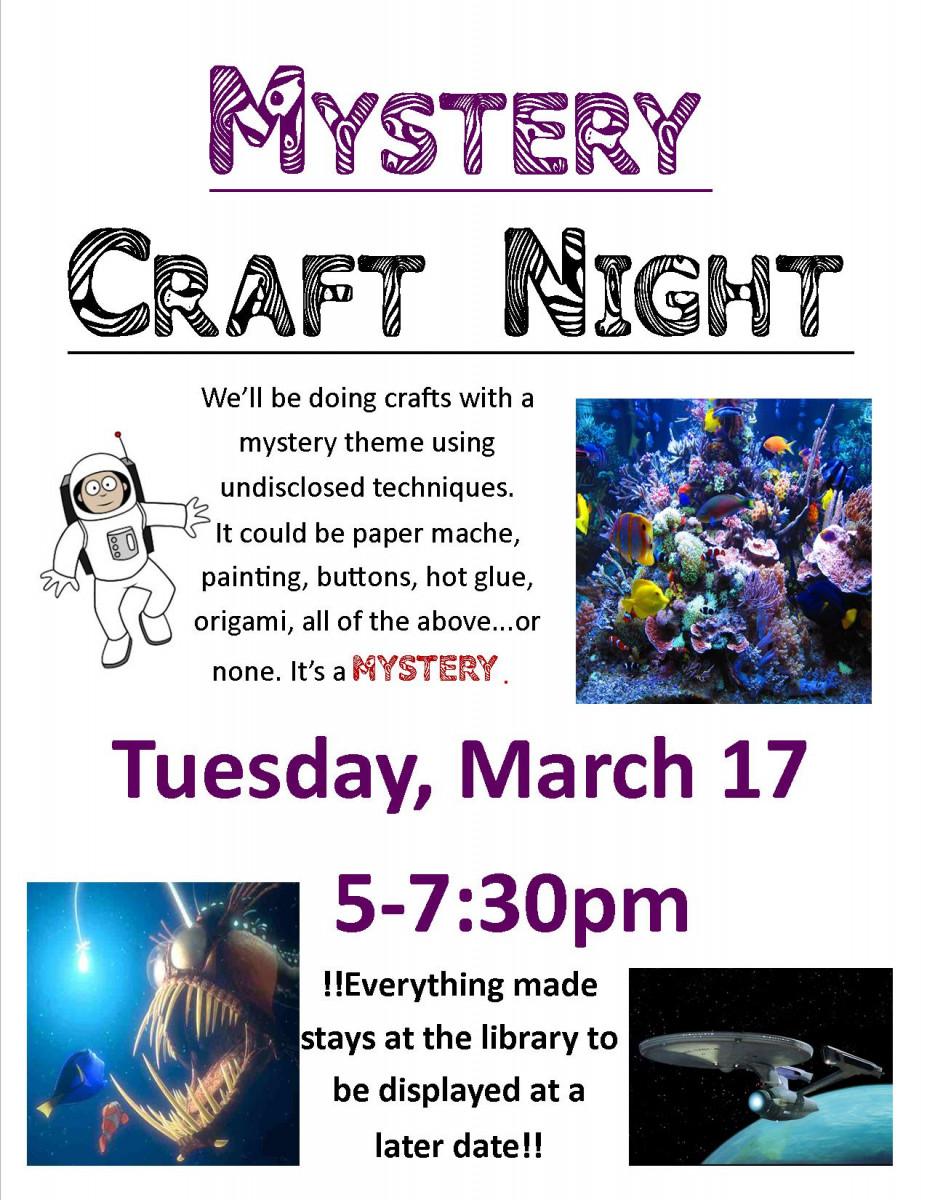 mystery craft night flyer