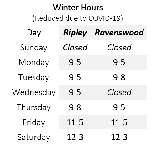 JCPL Winter hours (reduced due to covid)