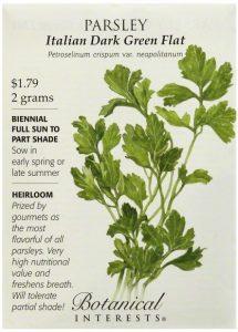 Top: Parsley - Italian dark green flat - petroselinum crispum var. neapolitanum - $.79 2 grams - biennial ful sun to part shade - sow in early spring or late summer