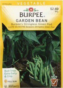 Seed packet for Burpee's Stringless Green Pod beans. Top: Vegetable - Burpee garden bean - burpee's stringless green pod - bush snap, extra early & crist - full sun - 52 days to maturity
