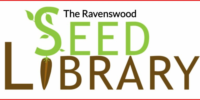 Top text, black: The Ravenswood. Middle text, green: Seed. Bottom text, brown: Library.