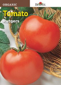 Seed packet for Burpee organic Rutgers tomato seeds.
