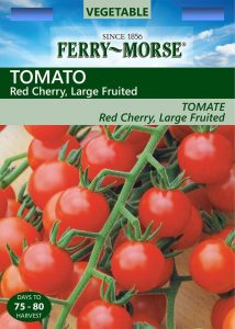 Seed packet for Ferry Morse Cherry Tomato Seeds. Top: Vegetable - Since 1856 - Ferry Morse. Tomato: Red Cherry, large fruited. Image of cherry tomatoes on the vince. Days to harvest : 75-80
