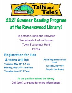 Header: sketched image of a green and blue lizard atop a book. Text: Tails and Tales. ; Main text: 2021 Summer Reading Program at the Ravenswood Library! In-person Crafts and Activities, Worksheets to do at home, Town Scavenger Hunt, Prizes. Registration for kids and teens will be: Tuesday May 18th 5 to 7 PM, Monday May 24th 11 AM to 4 PM, Tuesday June 8th 5 to 7 PM at the pavilion behind the library. Adult registration will start Tuesday May 18th stop in the library. Call 3-0-4-2-7-3-5-3-4-3 for more information!