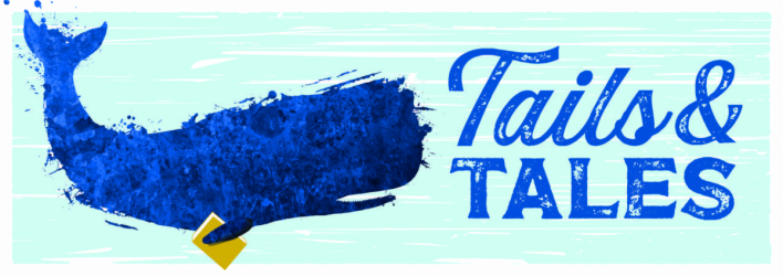 CSLP2021 AdultBanner Image: stylized blue whatle holding a book Text: Tails & Tales