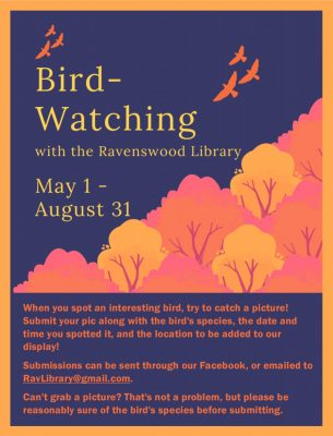 Title text: bird-watching with the ravenswood library May 1 to August 31 ; Main text: when you spot an interesting bird, try to catch a picture! Submit your pic along with the bird's species, the date and time you spotted it, and the location to be added to our display! Submissions can be sent through our Facebook, or emailed to RavLibrary@gmail.com. Can't grab a picture? That's not a problem, but please be reasonably sure of the bird's species before submitting. ; Background image: a forest of orange trees with orange birds flying above in sillhouette.